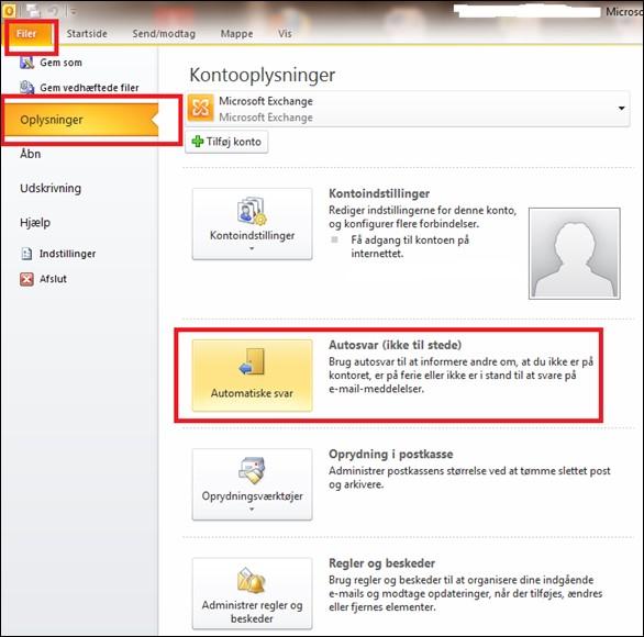 Autosvar i Outlook - vist med billeder