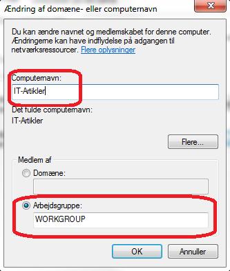 Skift arbejdsgruppe i Windows 7