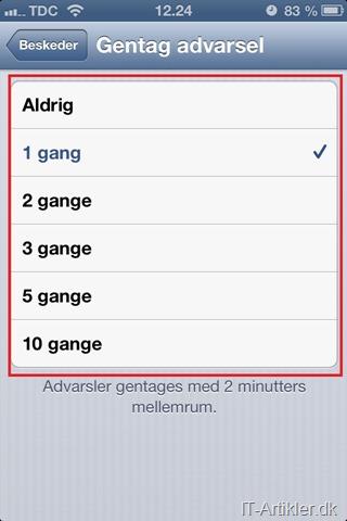 Ny besked på iPhone, 2 gange påmindelse