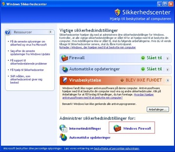 Slå Windows firewall til eller fra