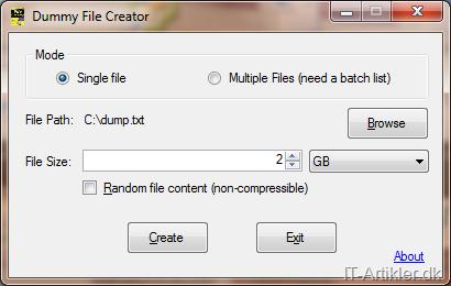 Program til at oprette dummy filer