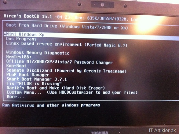 Boot fra din USB harddisk eller nøgle