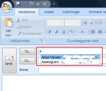 Autofuldførelse af e-mail Outlook NK2