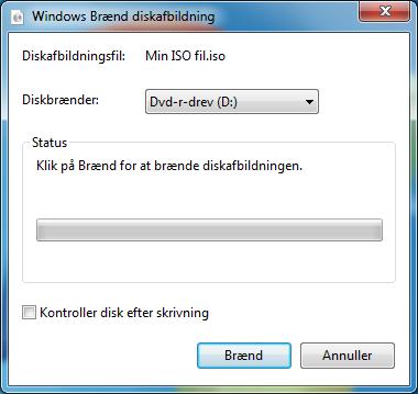 Brænd ISO filer med Windows 7
