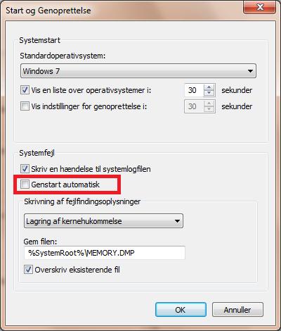 Deaktivere automatisk genstart windows 7
