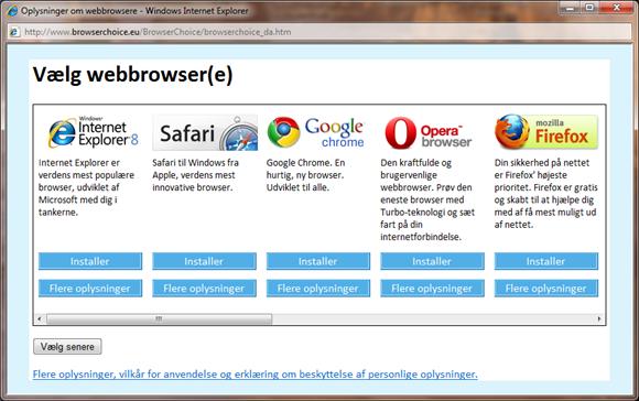 Deaktivere browser valg i Windows