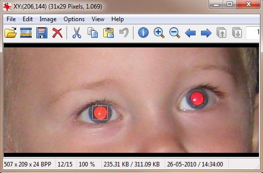 Fjern røde øjne på billeder