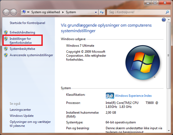 Fjernskrivebord i windows 7