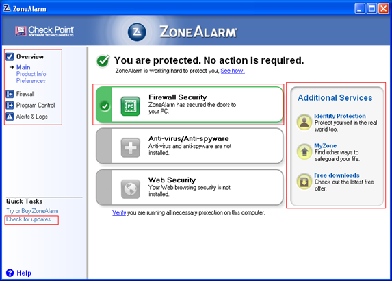 Installation af ZoneAlarm firewall
