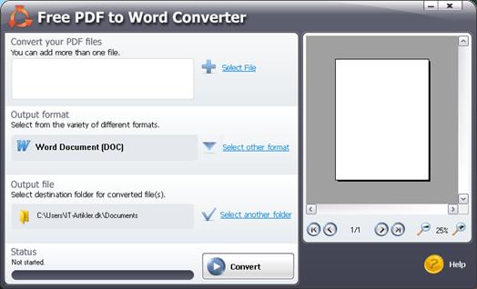 Konvertere en PDF fil til et Word dokument