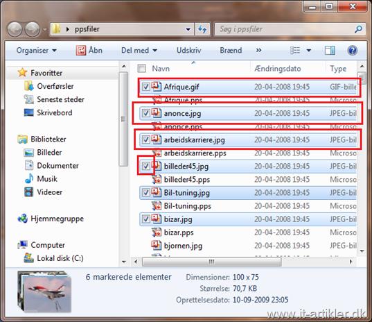Markere flere filer af gangen i Windows 7