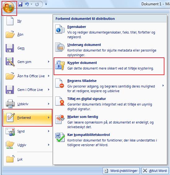 Opret en kode på dit Office Word dokument