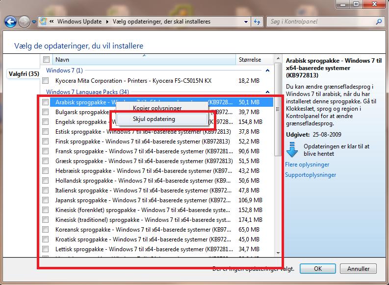 Skjul windows 7 opdatering