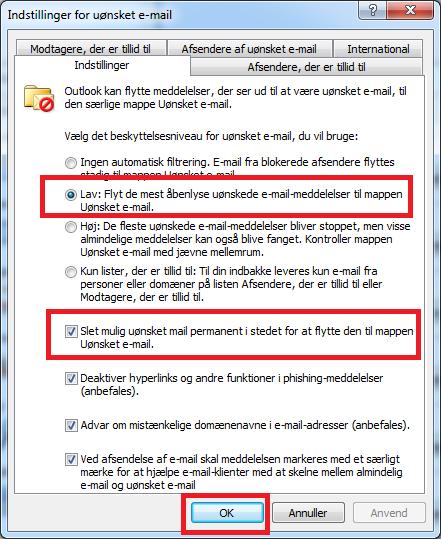 Slet uønsket mail automatisk i Outlook