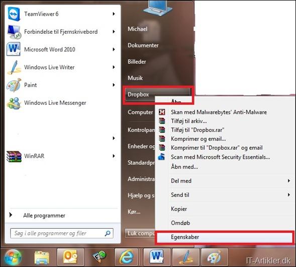 Tilføj Dropbox til din start menu i Windows 7