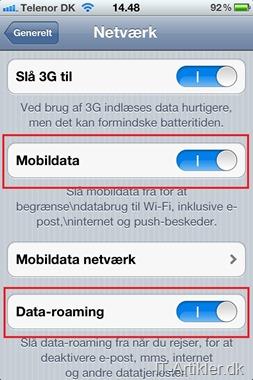 iPhone dataforbrug i udlandet